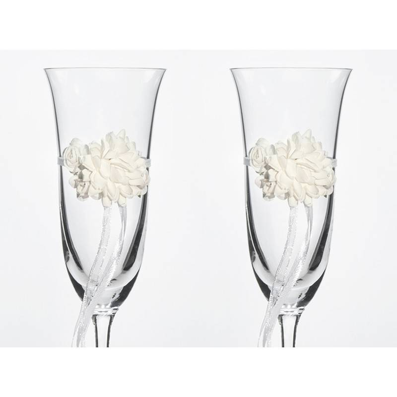 Kieliszki do szampana ślubne kolekcja Vintage wzór 2