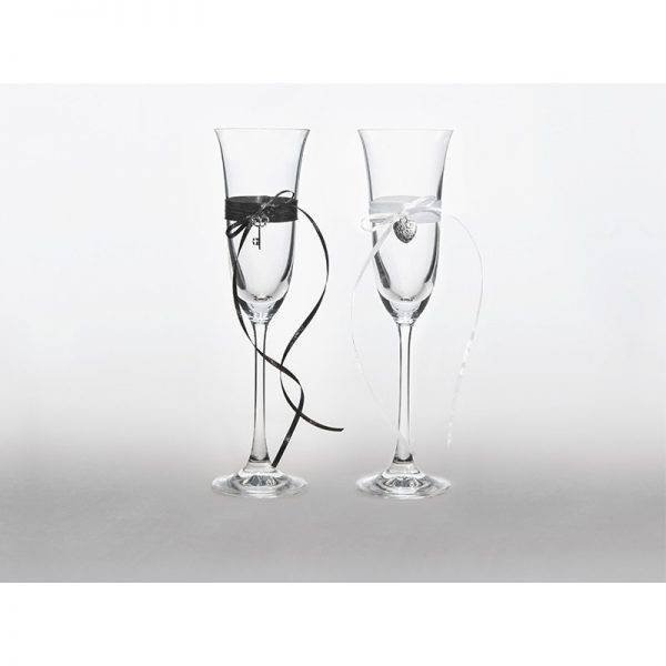 Kieliszki do szampana ślubne kolekcja Bajkowy Ogród wzór 3