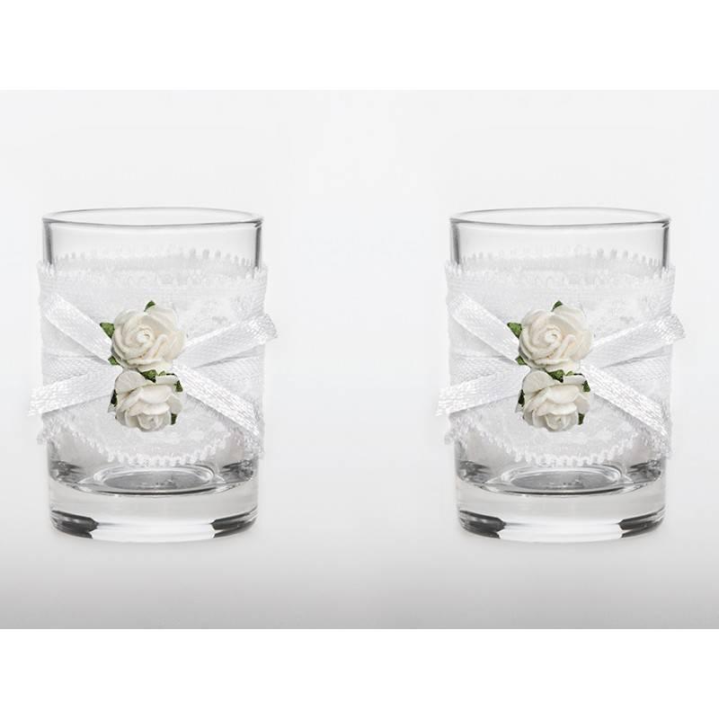 Kieliszki do wódki dla Nowożeńców toastowe 30 ml z muszką bordo