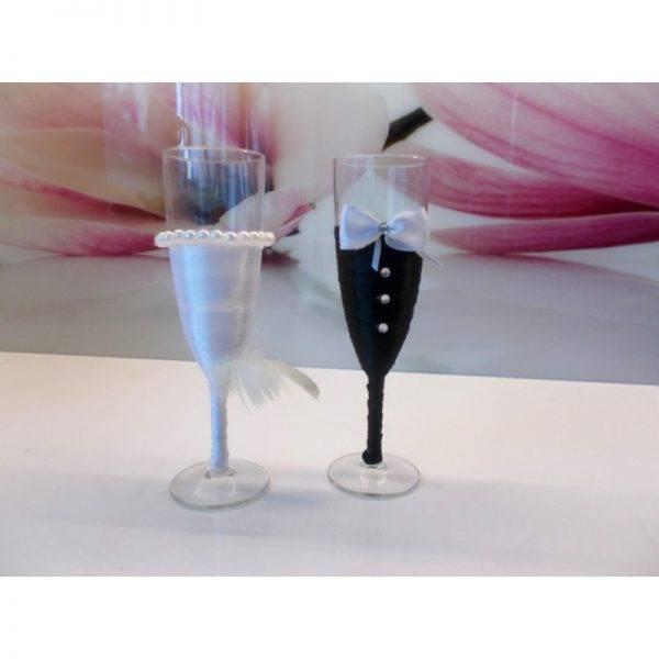Kieliszki do szampana ślubne wzór 6