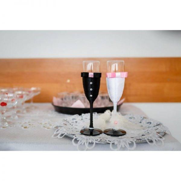 Kieliszki do szampana ślubne wzór 7