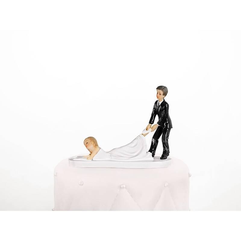 Figurka na tort Pani Młoda z karabinem