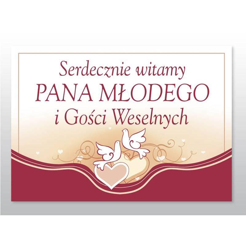 Plakat Witamy Gości Weselnych tabica bordowa