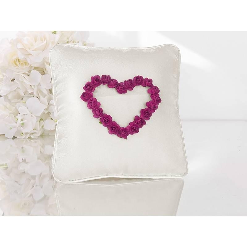 Poduszka pod obrączki białe serce