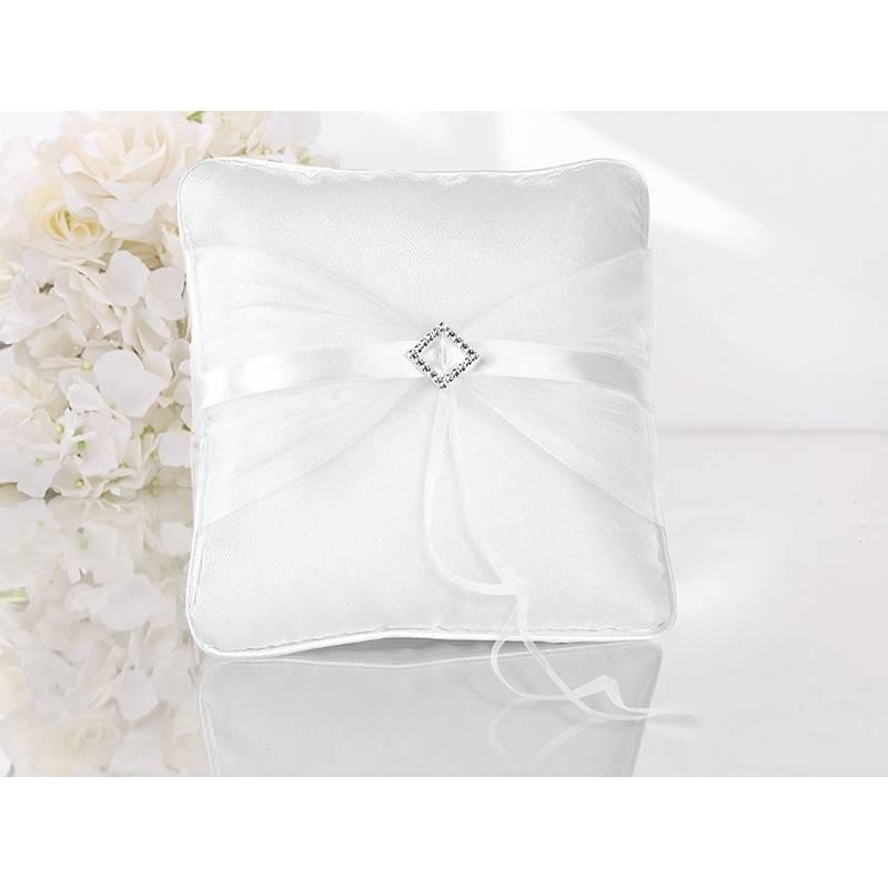 Poduszka pod obrączki kremowa z tiulem i motylkami