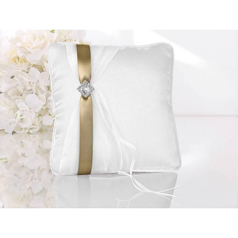 Poduszka pod obrączki biała z tiulem i aplikacją