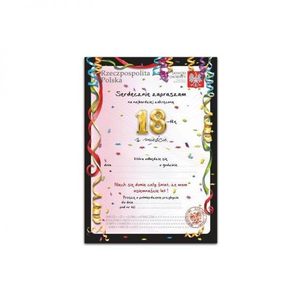 Zaproszenie na urodziny 18 stka wzór 3