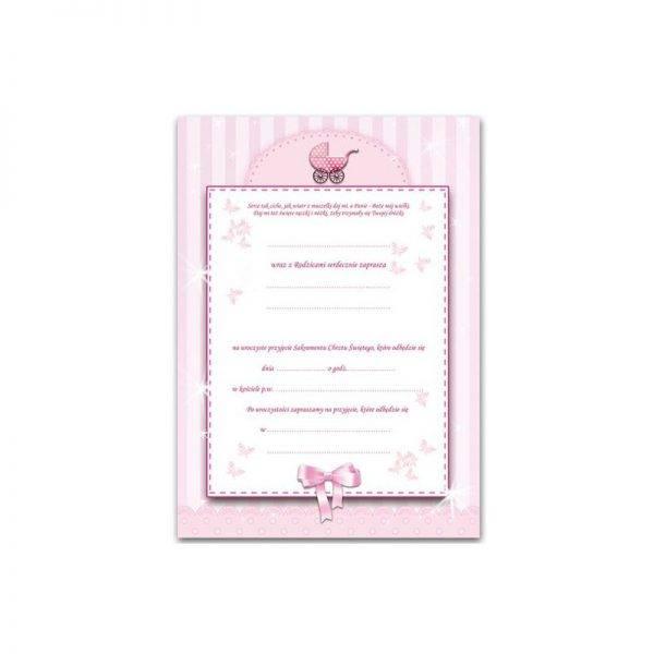 Zaproszenie na Chrzest dla dziewczynki różowe