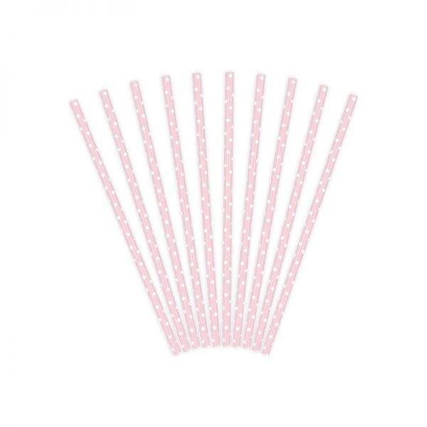 Słomki rurki sweets różowe w białe kropki