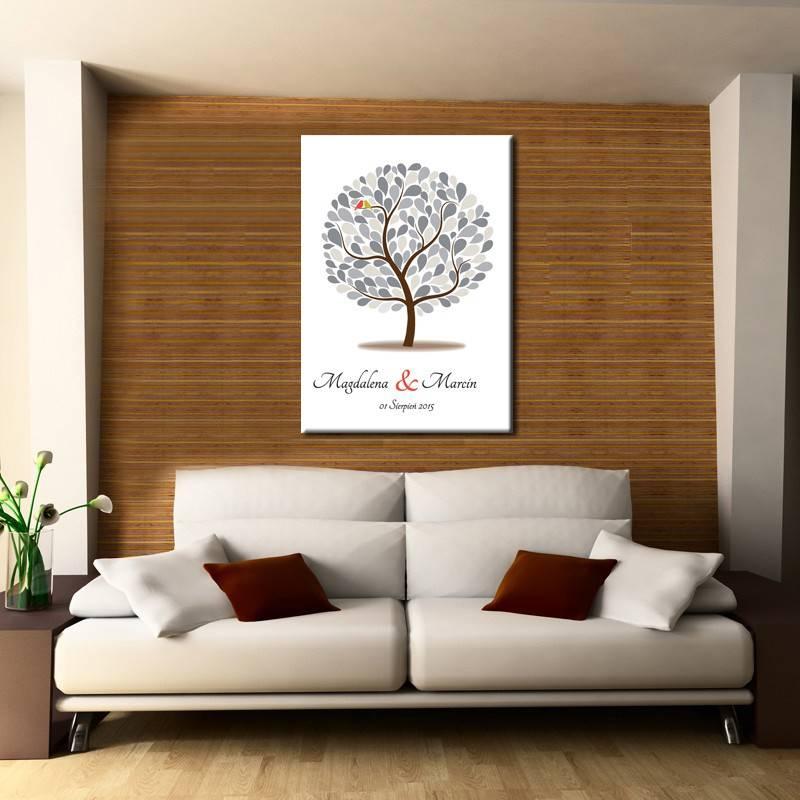 Drzewo plakat księga gości na półtnie nadruk wzór 2