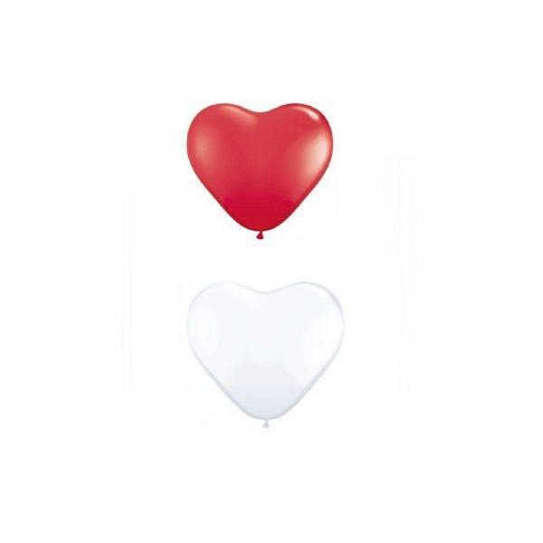 Balony w kształcie serca KOLOR białe i czerwone balon