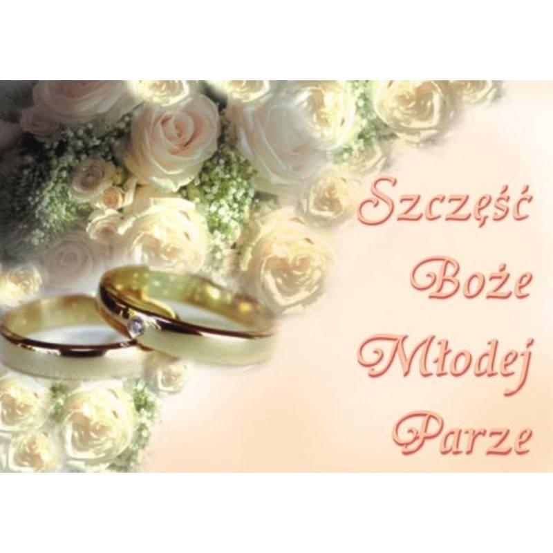 Plakat Szczęść Boże Młodej Parze białe róże