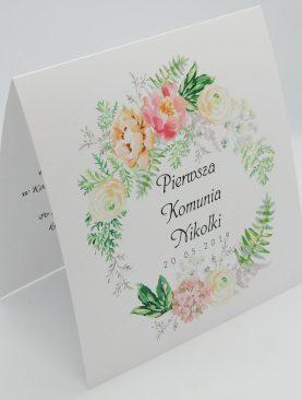 Zaproszenie Komunijne zaproszenia na I Komunię Świętą z wzorem kwiatów