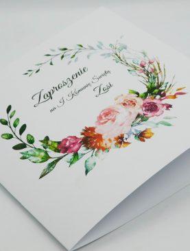 Zaproszenie Komunijne z motywem kwiatowym