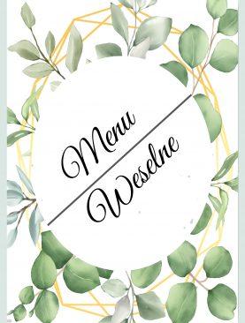 Menu weselne - geometryczne listeczki