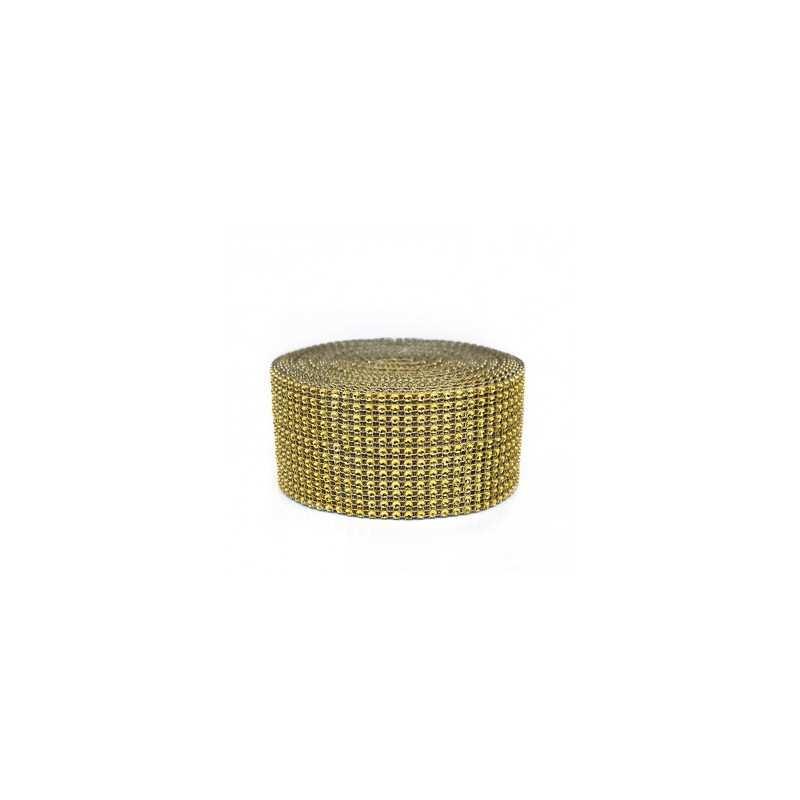 Taśma ozdobna złote cyrkonie 12 cm aplikacja na taśmie