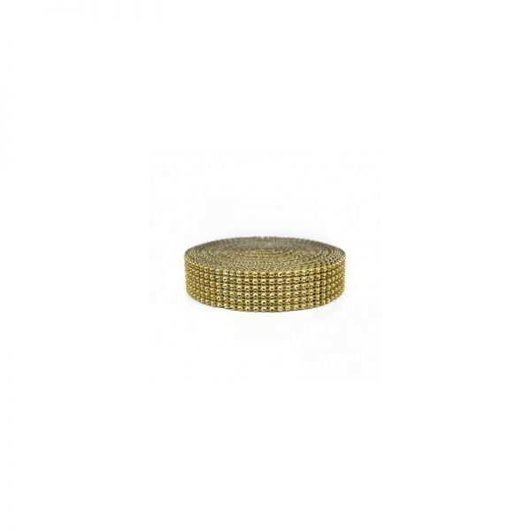 Taśma ozdobna złote cyrkonie 6 cm aplikacja na taśmie