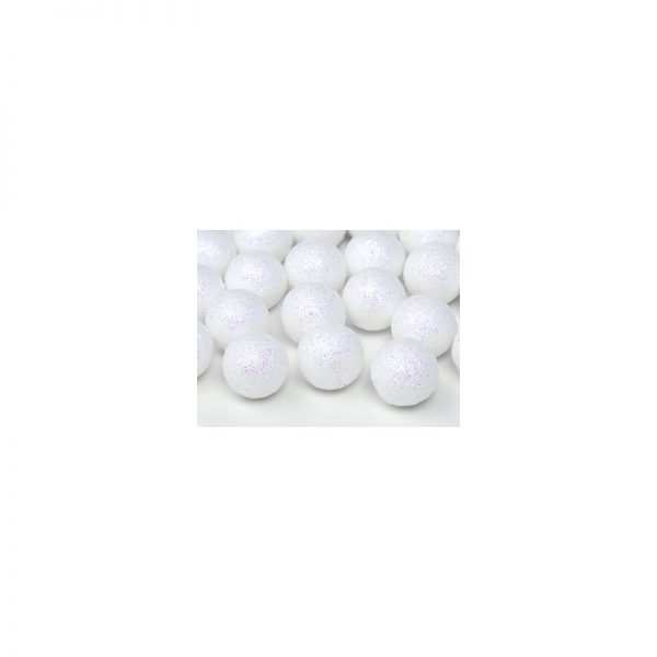 Kuleczki styropianowe z brokatem białe