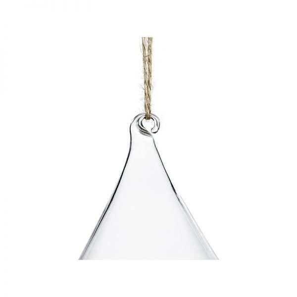 Dekoracja szklana bombka z dziurką na jutowym sznurku