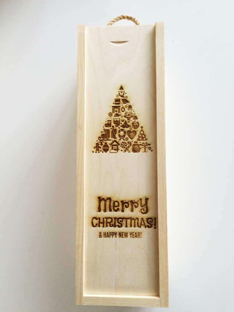 Skrzynki Na Wino Z Grawerem Wzór 23 Logo święta Boże Narodzenie
