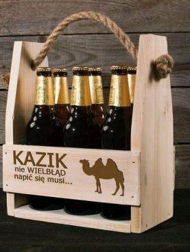 Nosidło drewniane z grawerem na 6 butelek