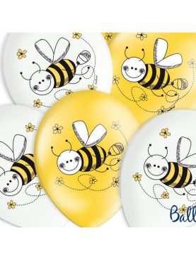 Balony białe i żółte Kolekcja pszczółka