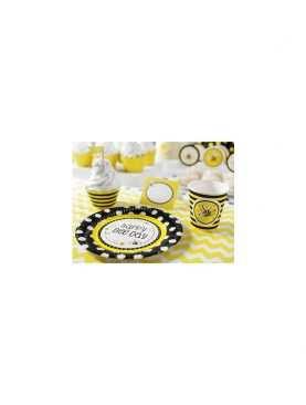 Talerzyki papierowe urodzinowe 6 sztuk Kolekcja Pszczółka