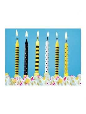 Świeczki urodzinowe na tort 6 sztuk Kolekcja pszczółka
