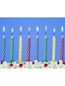 Świeczki urodzinowe na tort 10 sztuk kolorowe
