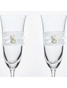 Kieliszki do szampana ślubne kolekcja Vintage wzór 1