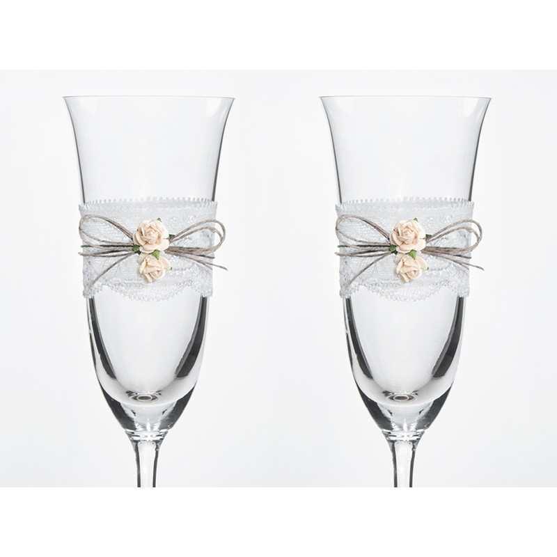 30451d9dbb Kieliszki do szampana ślubne kolekcja Vintage wzór 2 - Dekorak