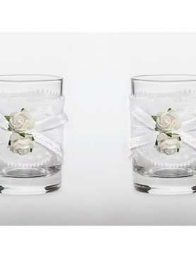 Kieliszki do wódki dla Nowożeńców toastowe 30 ml białe