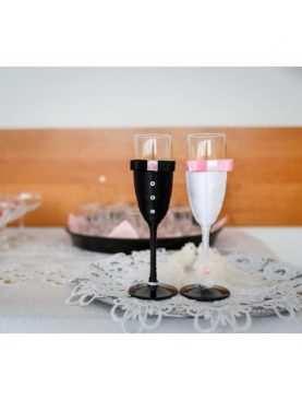 Kieliszki do szampana ślubne wzór 8