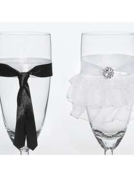 Kieliszki do szampana ślubne wzór 9