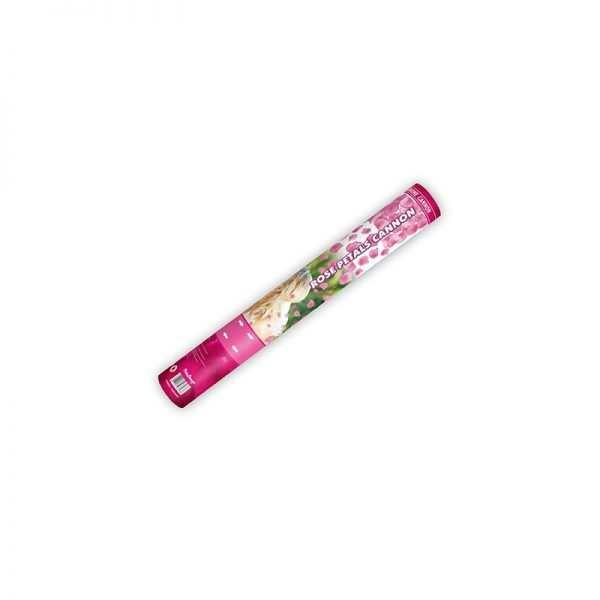 Tuba strzelająca płatkami róż 40 cm białe bordo