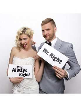 Tabliczki karteczki do sesji zdjęciowej Mr. Right/Mrs. Always Right!
