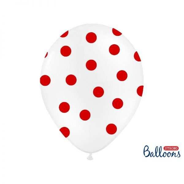 Balony białe w czerwone serca Kolekcja Biedronka