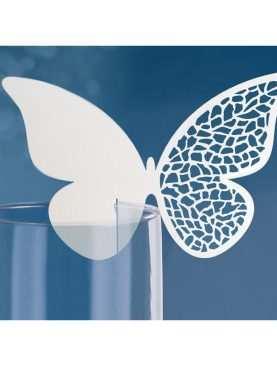 Winietki motylki ażurowy laserowo wycinane na kieliszek 10 szt