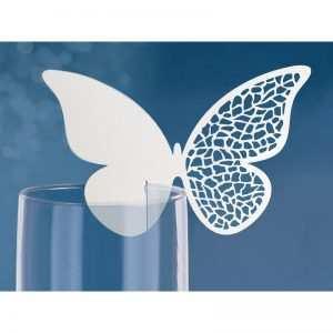 Winietki motylki laserowo wycinane na kieliszek 10 szt