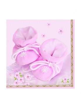 Serwetki składane na Chrzest z nadrukiem 20 szt różowe