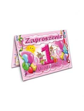 Zaproszenie na roczek urodziny dla dzieci Wzór różowy