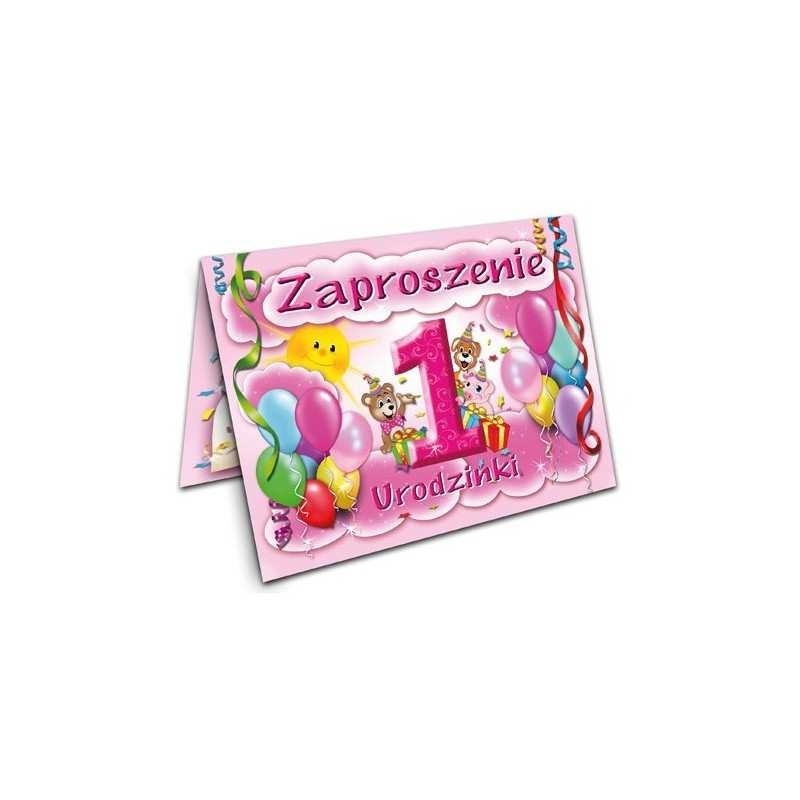 Zaproszenie Na Roczek Urodziny Dla Dzieci Wzór Różowy Dekorak