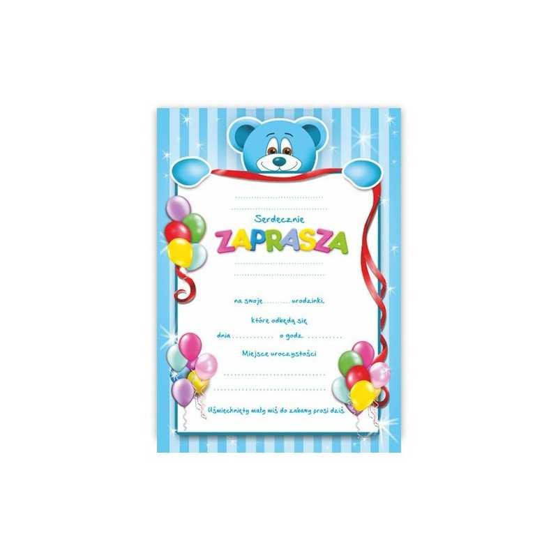 Zaproszenie Na Urodziny Urodziny Dla Dzieci Wzór Misio Błękitny