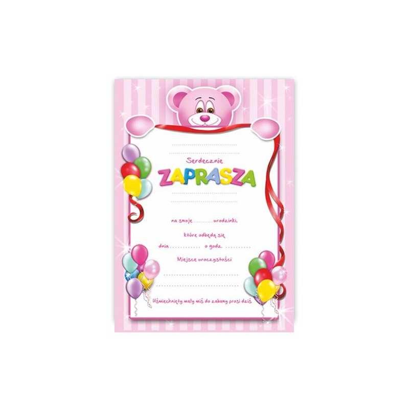 Zaproszenie Na Urodziny Urodziny Dla Dzieci Wzór Misio Różowy Dekorak