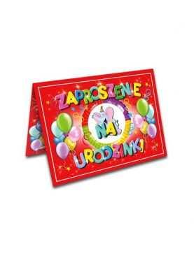 Zaproszenie na urodziny urodziny dla dzieci Wzór słoniki czerwone
