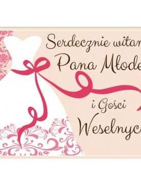 Plakat Witamy Pana Młodego i Gości Weselnych wzór różowy