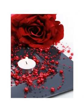 Girlanda perełkowa girlandy perłowe 5 szt 130 cm kolor czerwony