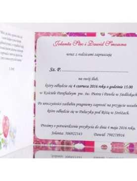 Zaproszenie ślubne zaproszenia na wesele Wzór 1
