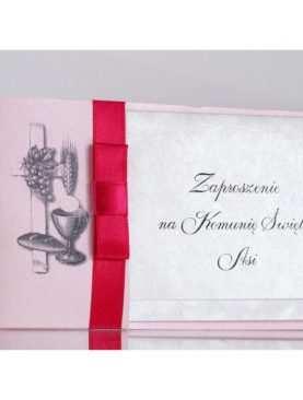 Zaproszenie Komunijne zaproszenia na I Komunię Świętą różowe z hostią