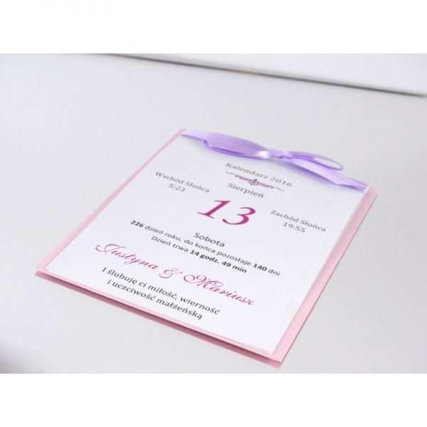 Zaproszenie ślubne zaproszenia na wesele Wzór 11 Kartka z kalendarza